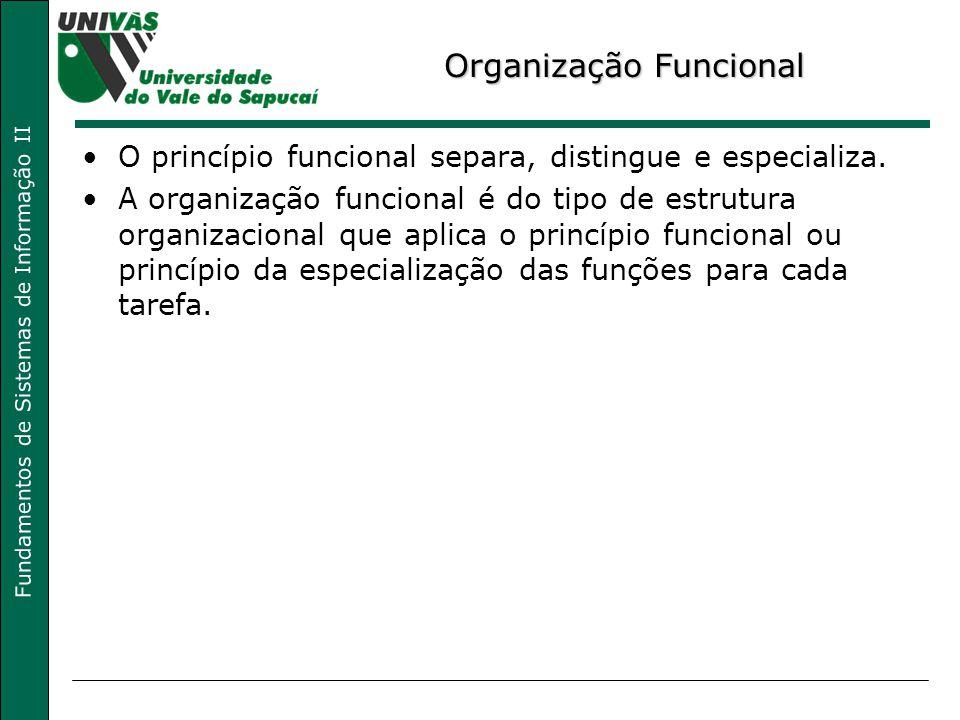 Fundamentos de Sistemas de Informação II Organização Funcional O princípio funcional separa, distingue e especializa. A organização funcional é do tip