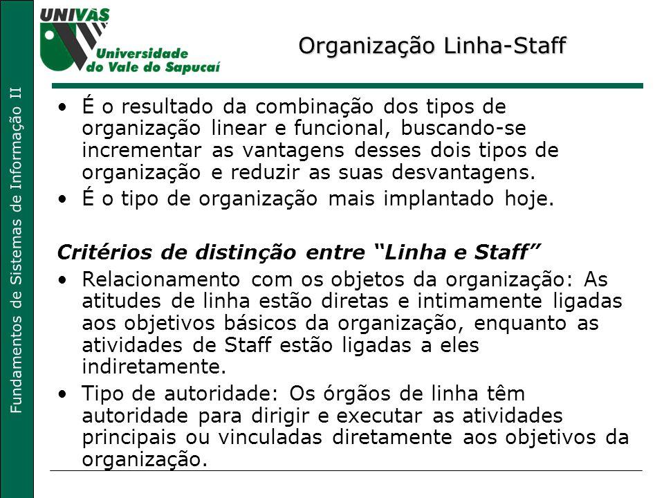 Fundamentos de Sistemas de Informação II Organização Linha-Staff É o resultado da combinação dos tipos de organização linear e funcional, buscando-se incrementar as vantagens desses dois tipos de organização e reduzir as suas desvantagens.