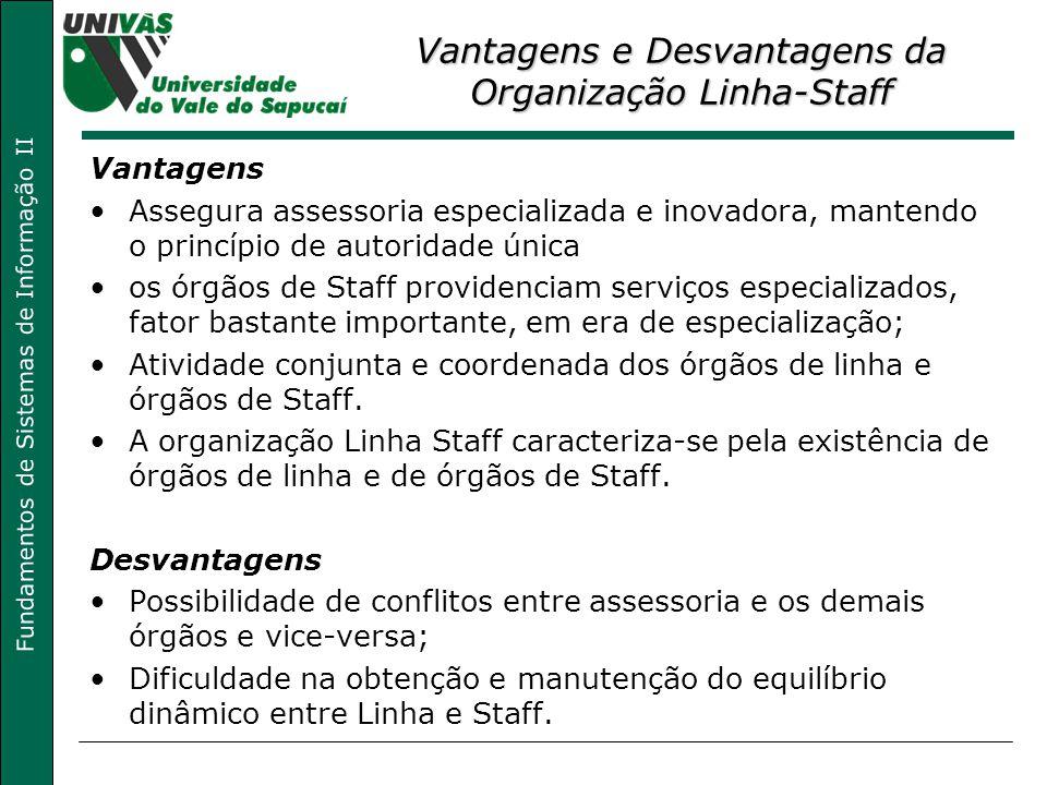 Fundamentos de Sistemas de Informação II Vantagens e Desvantagens da Organização Linha-Staff Vantagens Assegura assessoria especializada e inovadora,