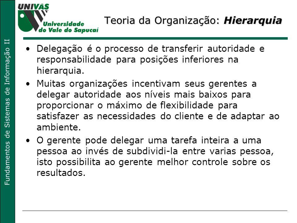 Fundamentos de Sistemas de Informação II Teoria da Organização: Hierarquia Delegação é o processo de transferir autoridade e responsabilidade para pos