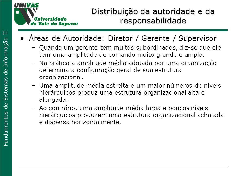 Fundamentos de Sistemas de Informação II Distribuição da autoridade e da responsabilidade Áreas de Autoridade: Diretor / Gerente / Supervisor –Quando
