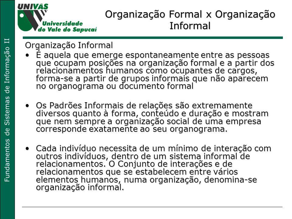 Fundamentos de Sistemas de Informação II Organização Formal x Organização Informal Organização Informal É aquela que emerge espontaneamente entre as p