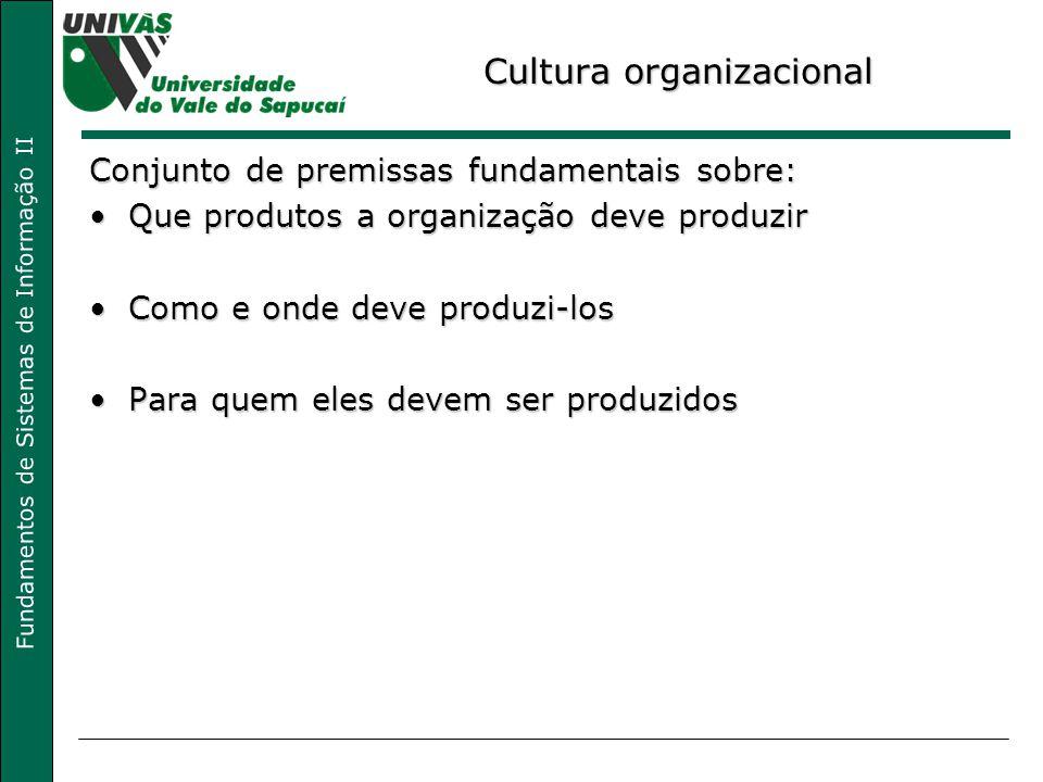 Fundamentos de Sistemas de Informação II Cultura organizacional Conjunto de premissas fundamentais sobre: Que produtos a organização deve produzirQue produtos a organização deve produzir Como e onde deve produzi-losComo e onde deve produzi-los Para quem eles devem ser produzidosPara quem eles devem ser produzidos