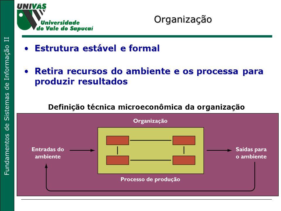 Fundamentos de Sistemas de Informação II Organização Estrutura estável e formalEstrutura estável e formal Retira recursos do ambiente e os processa pa