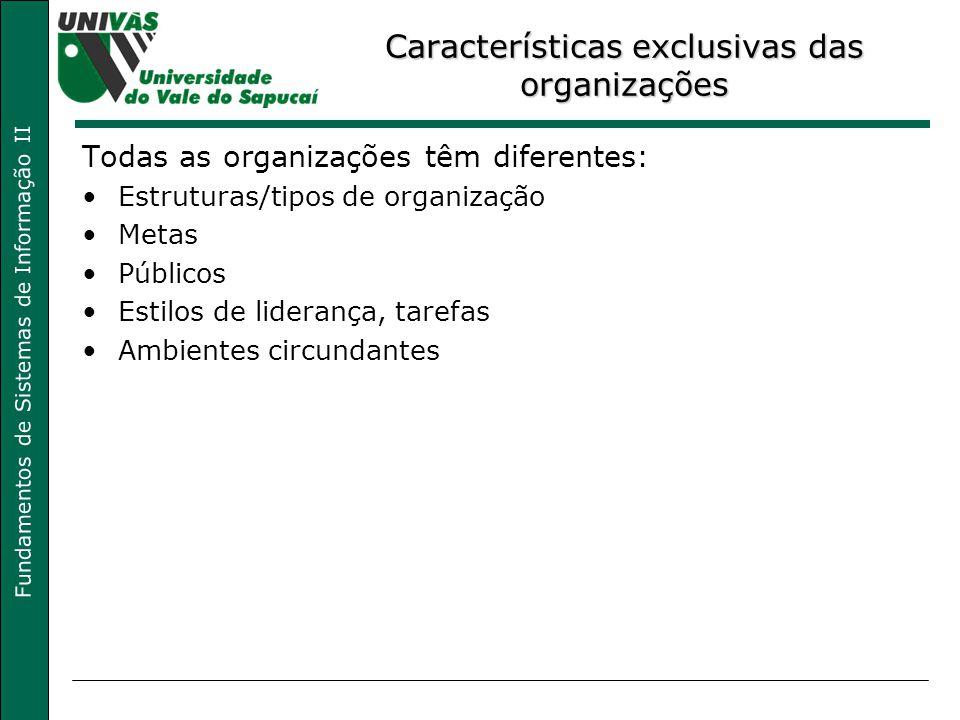 Fundamentos de Sistemas de Informação II Características exclusivas das organizações Todas as organizações têm diferentes: Estruturas/tipos de organização Metas Públicos Estilos de liderança, tarefas Ambientes circundantes
