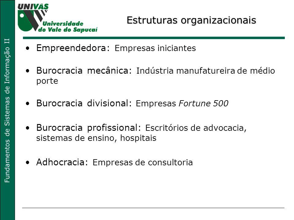 Fundamentos de Sistemas de Informação II Estruturas organizacionais Empreendedora: Empresas iniciantes Burocracia mecânica: Indústria manufatureira de