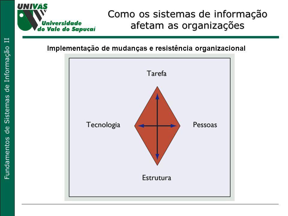 Fundamentos de Sistemas de Informação II Como os sistemas de informação afetam as organizações Implementação de mudanças e resistência organizacional