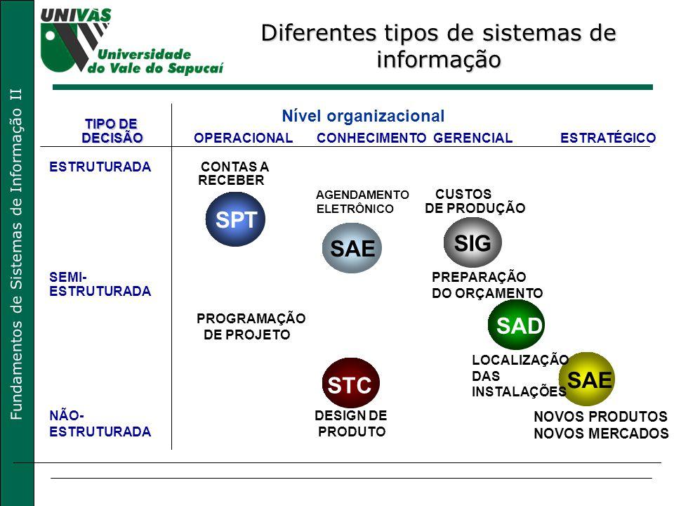 Fundamentos de Sistemas de Informação II SPT SAE SIG STC SAD SAE Nível organizacional TIPO DE DECISÃOOPERACIONALCONHECIMENTOGERENCIALESTRATÉGICO ESTRUTURADA CONTAS A RECEBER AGENDAMENTO CUSTOS ELETRÔNICO DE PRODUÇÃO SEMI-PREPARAÇÃO DO ORÇAMENTO ESTRUTURADA PROGRAMAÇÃO DE PROJETO LOCALIZAÇÃO DAS INSTALAÇÕES NÃO- ESTRUTURADA DESIGN DE PRODUTO NOVOS PRODUTOS NOVOS MERCADOS Diferentes tipos de sistemas de informação