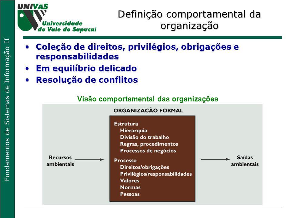 Fundamentos de Sistemas de Informação II Definição comportamental da organização Coleção de direitos, privilégios, obrigações e responsabilidadesColeç