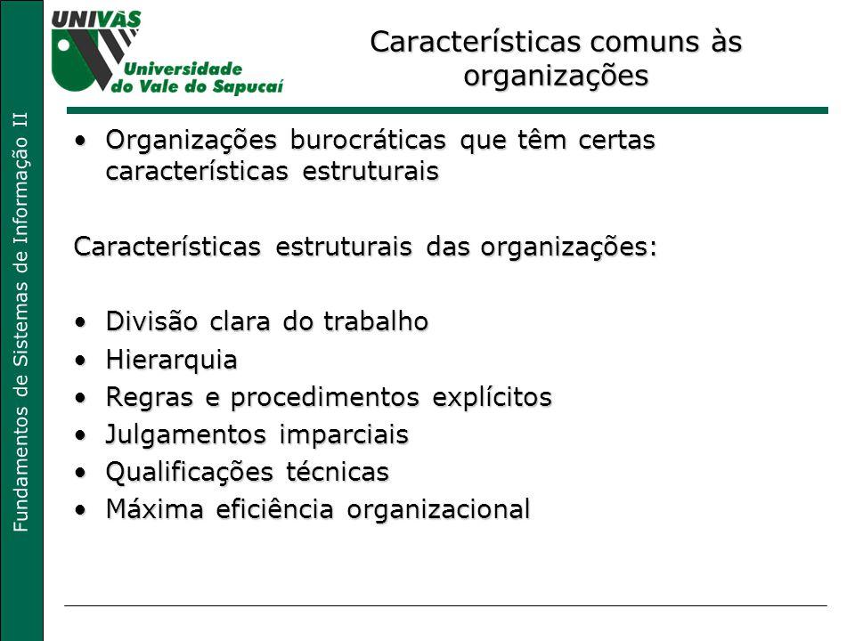 Fundamentos de Sistemas de Informação II Características comuns às organizações Organizações burocráticas que têm certas características estruturaisOr
