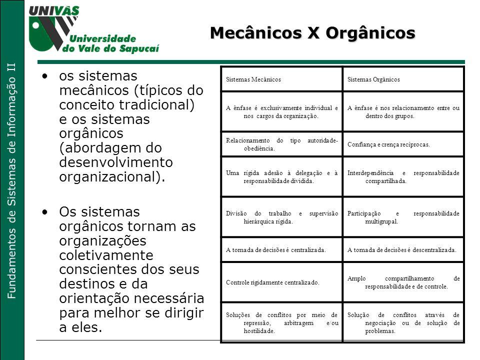 Fundamentos de Sistemas de Informação II Características da Organização Linha-Staff Fusão da estrutura linear com a estrutura funcional, com predomínio da primeira; Coexistência entre as linhas formais de comunicação com as linhas diretas de comunicação; Separação entre órgãos operacionais (executivos) e órgãos de apoio (assessores).