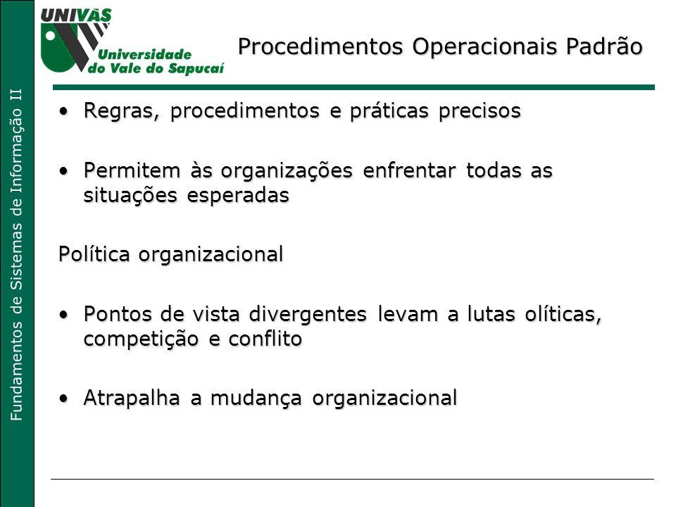 Fundamentos de Sistemas de Informação II Procedimentos Operacionais Padrão Regras, procedimentos e práticas precisosRegras, procedimentos e práticas p