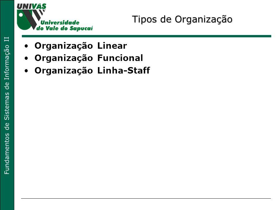 Fundamentos de Sistemas de Informação II Tipos de Organização Organização Linear Organização Funcional Organização Linha-Staff