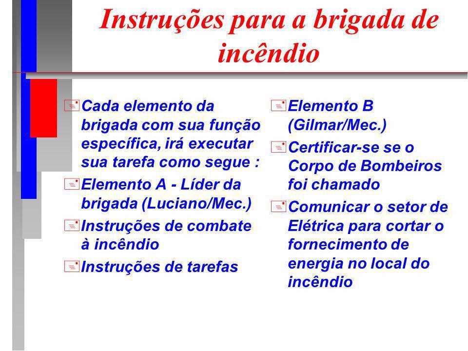 +Cada elemento da brigada com sua função específica, irá executar sua tarefa como segue : +Elemento A - Líder da brigada (Luciano/Mec.) +Instruções de combate à incêndio +Instruções de tarefas +Elemento B (Gilmar/Mec.) +Certificar-se se o Corpo de Bombeiros foi chamado +Comunicar o setor de Elétrica para cortar o fornecimento de energia no local do incêndio Instruções para a brigada de incêndio