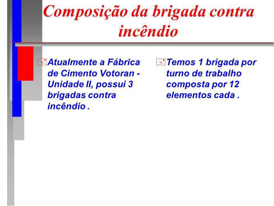 Composição da brigada contra incêndio +Atualmente a Fábrica de Cimento Votoran - Unidade II, possui 3 brigadas contra incêndio. +Temos 1 brigada por t