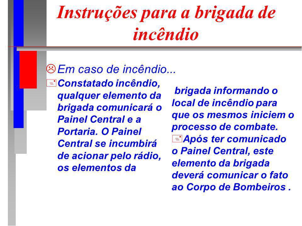 Instruções para a brigada de incêndio Em caso de incêndio... +Constatado incêndio, qualquer elemento da brigada comunicará o Painel Central e a Portar
