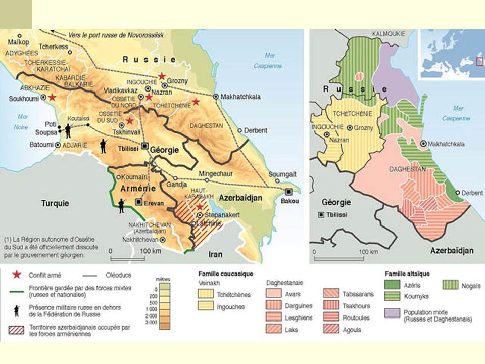 Armênia, Geórgia e Azerbaijão na porção sul do Cáucaso, na área denominada Transcaucásia. Enquanto que na porção norte do Cáucaso, denominada de Cisca