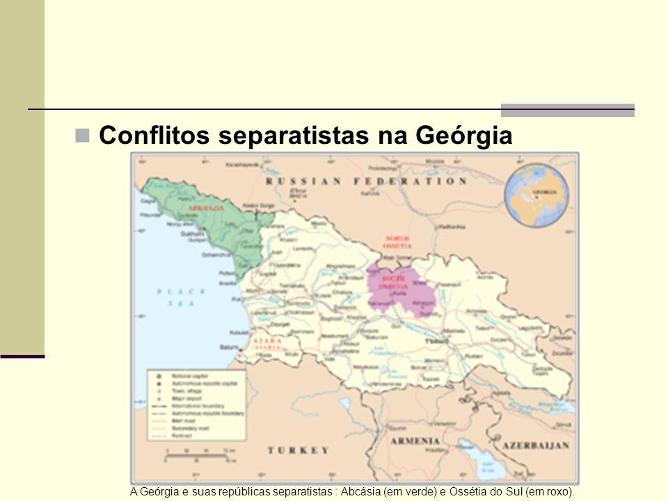 Conflitos separatistas na Geórgia A Geórgia e suas repúblicas separatistas : Abcásia (em verde) e Ossétia do Sul (em roxo).