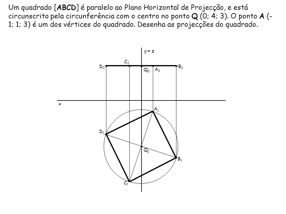 Um quadrado [ABCD] é paralelo ao Plano Horizontal de Projecção, e está circunscrito pela circunferência com o centro no ponto Q (0; 4; 3). O ponto A (