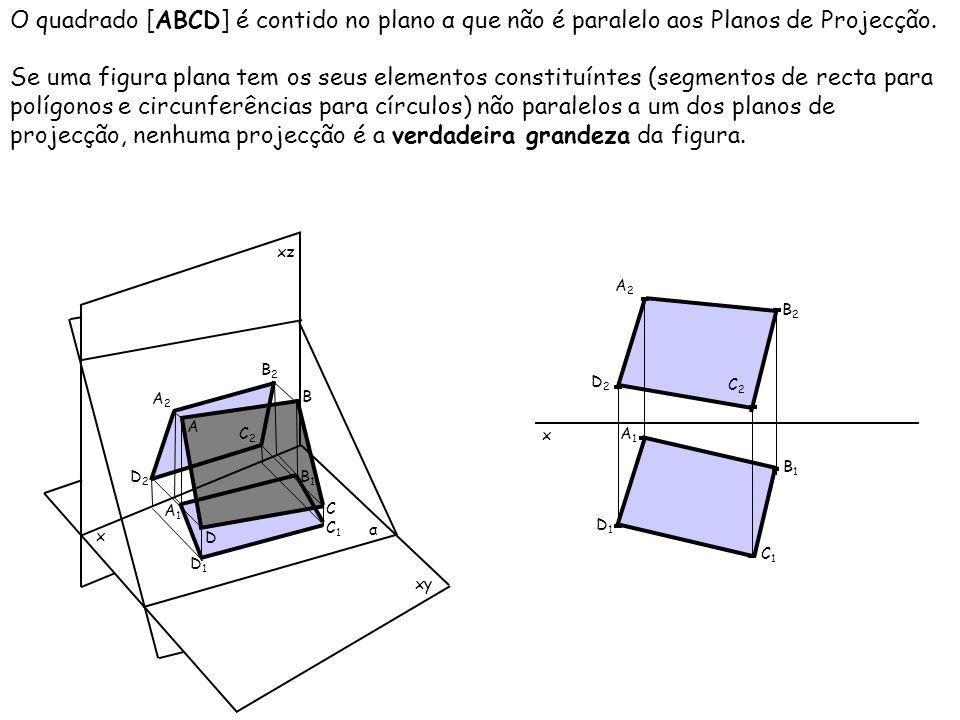 O quadrado [ABCD] é contido no plano α que não é paralelo aos Planos de Projecção. Se uma figura plana tem os seus elementos constituíntes (segmentos
