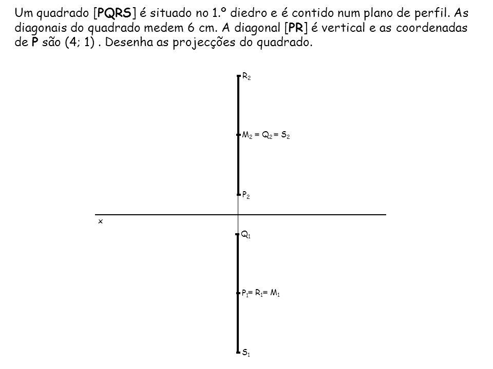 Um quadrado [PQRS] é situado no 1.º diedro e é contido num plano de perfil. As diagonais do quadrado medem 6 cm. A diagonal [PR] é vertical e as coord