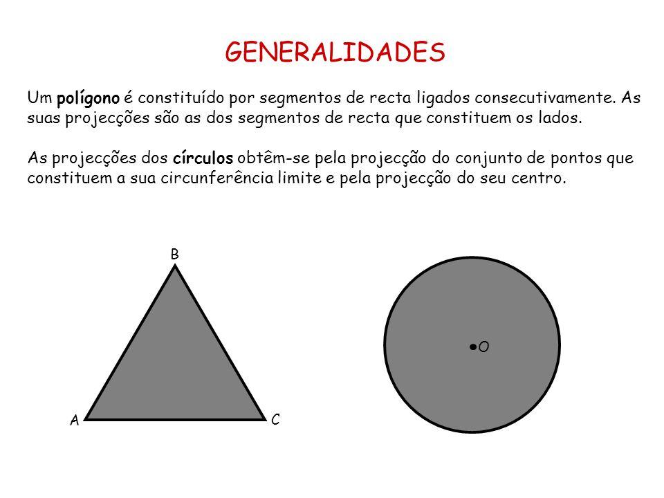 GENERALIDADES Um polígono é constituído por segmentos de recta ligados consecutivamente. As suas projecções são as dos segmentos de recta que constitu