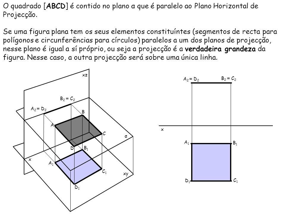 O quadrado [ABCD] é contido no plano α que é paralelo ao Plano Horizontal de Projecção. Se uma figura plana tem os seus elementos constituíntes (segme