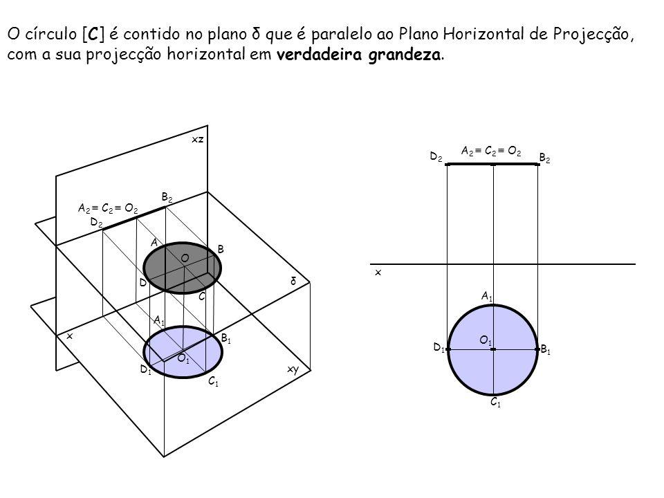 O círculo [C] é contido no plano δ que é paralelo ao Plano Horizontal de Projecção, com a sua projecção horizontal em verdadeira grandeza. x xz xy B A