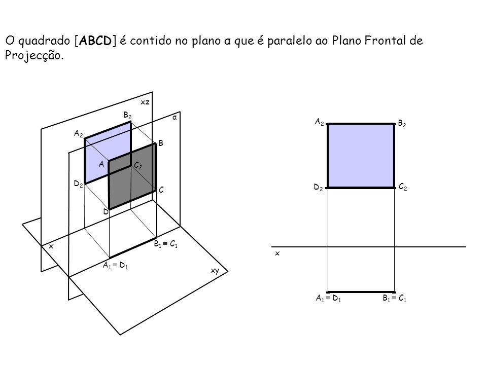 O quadrado [ABCD] é contido no plano α que é paralelo ao Plano Frontal de Projecção. x xz xy B A C D A 1 D 1 B 1 C 1 A2A2 D2D2 C2C2 B2B2 α x A 1 D 1 B