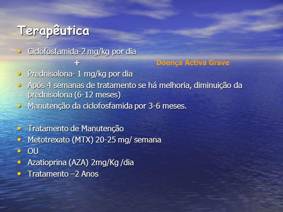 Terapêutica Ciclofosfamida-2 mg/kg por dia Ciclofosfamida-2 mg/kg por dia+ Prednisolona- 1 mg/kg por dia Prednisolona- 1 mg/kg por dia Após 4 semanas