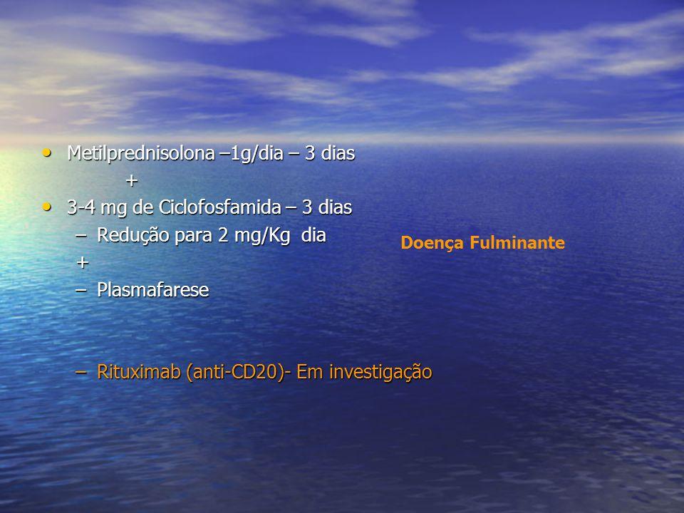 Metilprednisolona –1g/dia – 3 dias Metilprednisolona –1g/dia – 3 dias + 3-4 mg de Ciclofosfamida – 3 dias 3-4 mg de Ciclofosfamida – 3 dias –Redução p
