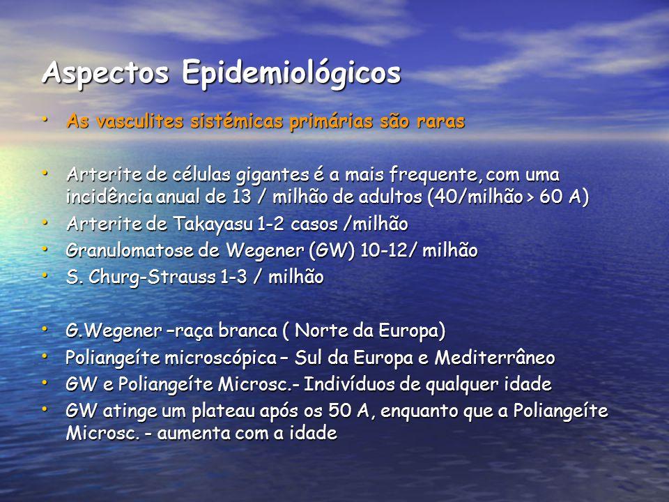 Diagnóstico Diagnóstico Histológico Histológico Vasculite necrosante granulomatosa Vasculite necrosante granulomatosa Biópsia do parênquima pulmonar- alterações em 91% dos casos Biópsia do parênquima pulmonar- alterações em 91% dos casos Biópsia das VAS- Alterações em 21% Biópsia das VAS- Alterações em 21% Biópsia renal- glomerulonefrite necrosante focal ou segmentar em crescentes, com poucos imunocomplexos.