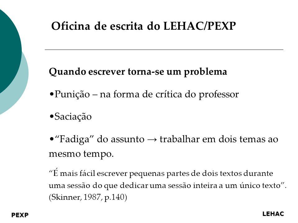 LEHAC PEXP Quando escrever torna-se um problema Punição – na forma de crítica do professor Saciação Fadiga do assunto trabalhar em dois temas ao mesmo tempo.