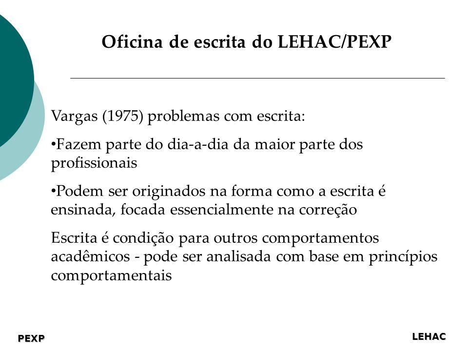 LEHAC PEXP Vargas (1975) problemas com escrita: Fazem parte do dia-a-dia da maior parte dos profissionais Podem ser originados na forma como a escrita é ensinada, focada essencialmente na correção Escrita é condição para outros comportamentos acadêmicos - pode ser analisada com base em princípios comportamentais Oficina de escrita do LEHAC/PEXP