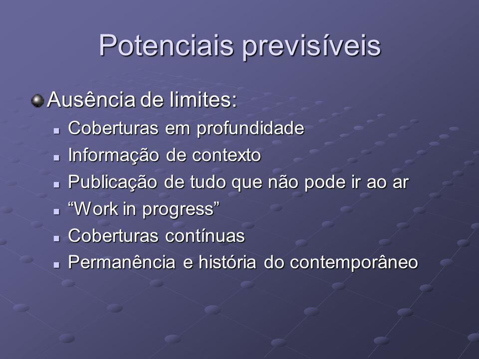 Potenciais previsíveis Ausência de limites: Coberturas em profundidade Coberturas em profundidade Informação de contexto Informação de contexto Public