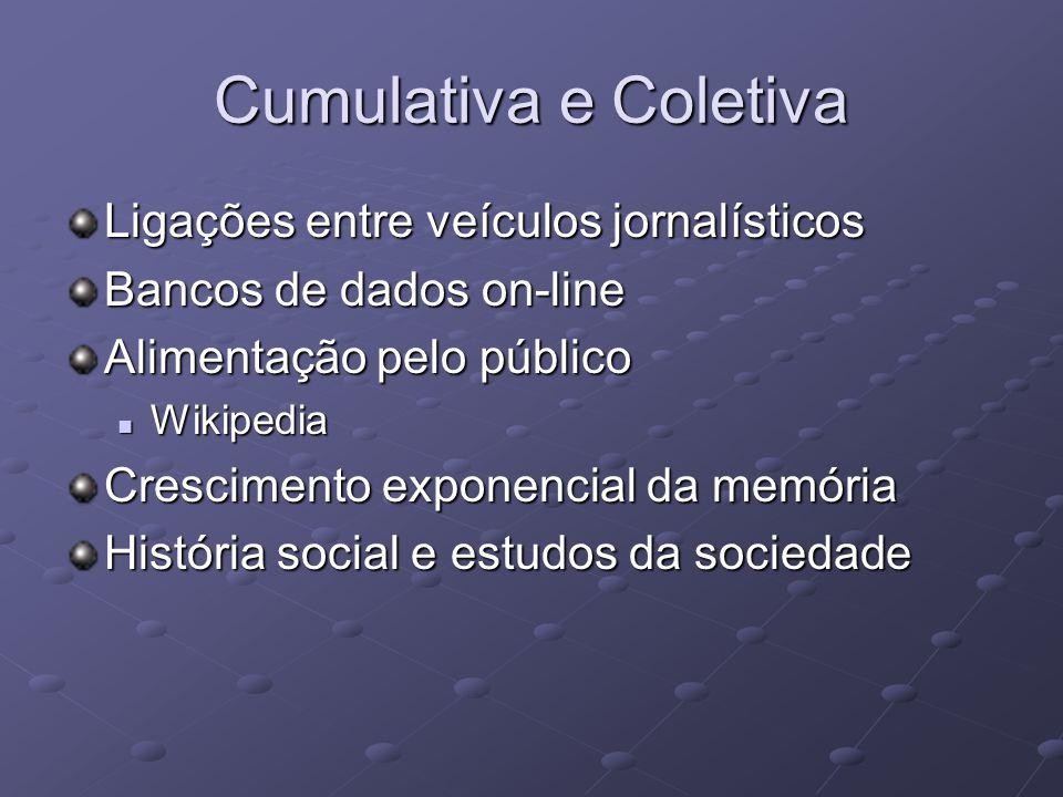 Cumulativa e Coletiva Ligações entre veículos jornalísticos Bancos de dados on-line Alimentação pelo público Wikipedia Wikipedia Crescimento exponencial da memória História social e estudos da sociedade