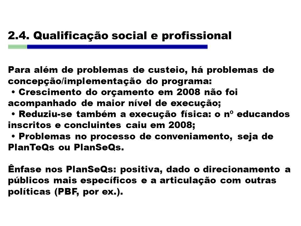 2.4. Qualificação social e profissional Para além de problemas de custeio, há problemas de concepção/implementação do programa: Crescimento do orçamen