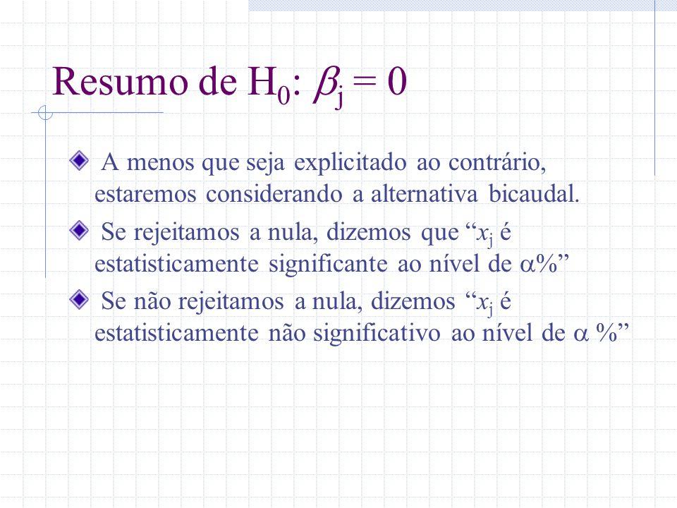 Resumo de H 0 : j = 0 A menos que seja explicitado ao contrário, estaremos considerando a alternativa bicaudal. Se rejeitamos a nula, dizemos que x j