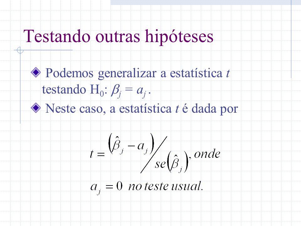 Testando outras hipóteses Podemos generalizar a estatística t testando H 0 : j = a j. Neste caso, a estatística t é dada por