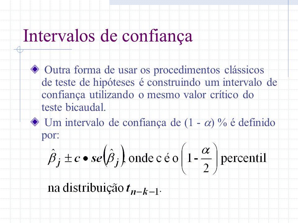 Intervalos de confiança Outra forma de usar os procedimentos clássicos de teste de hipóteses é construindo um intervalo de confiança utilizando o mesm