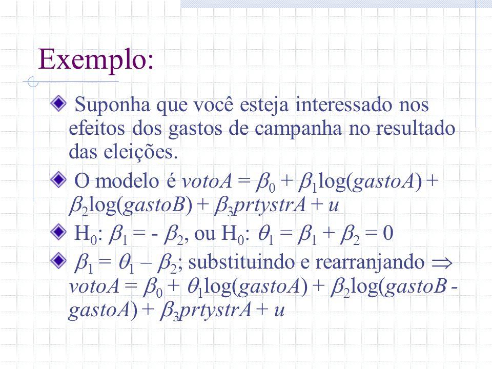 Exemplo: Suponha que você esteja interessado nos efeitos dos gastos de campanha no resultado das eleições. O modelo é votoA = 0 + 1 log(gastoA) + 2 lo