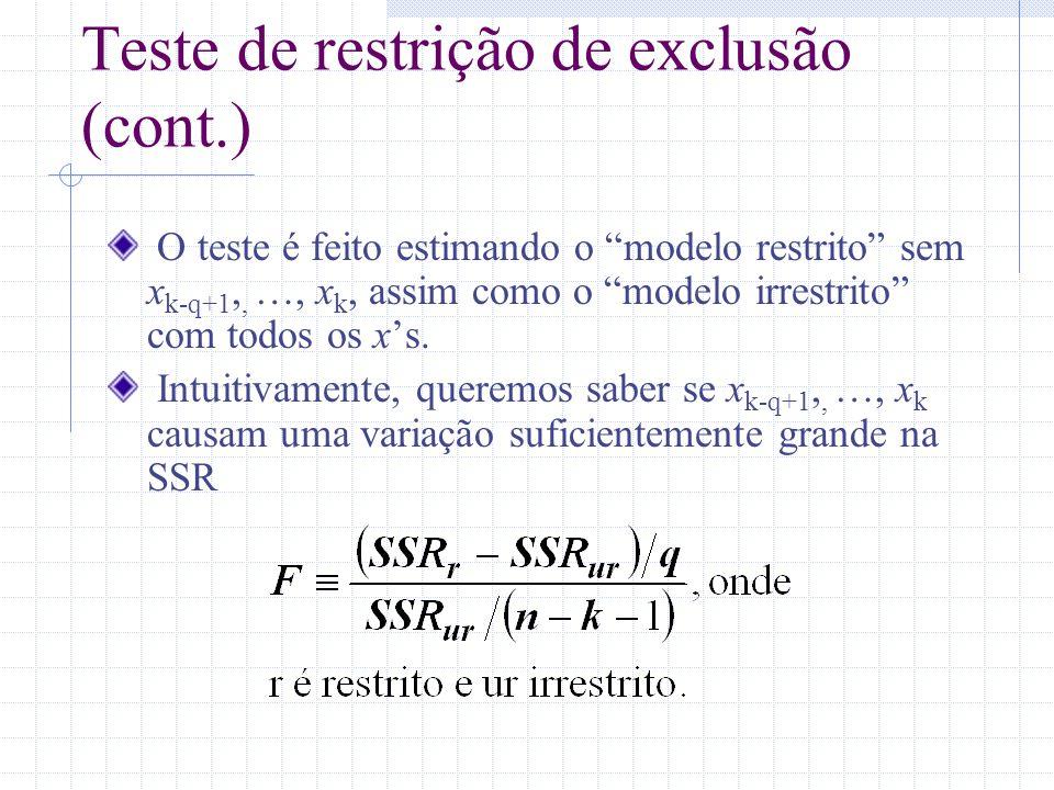 Teste de restrição de exclusão (cont.) O teste é feito estimando o modelo restrito sem x k-q+1,, …, x k, assim como o modelo irrestrito com todos os x