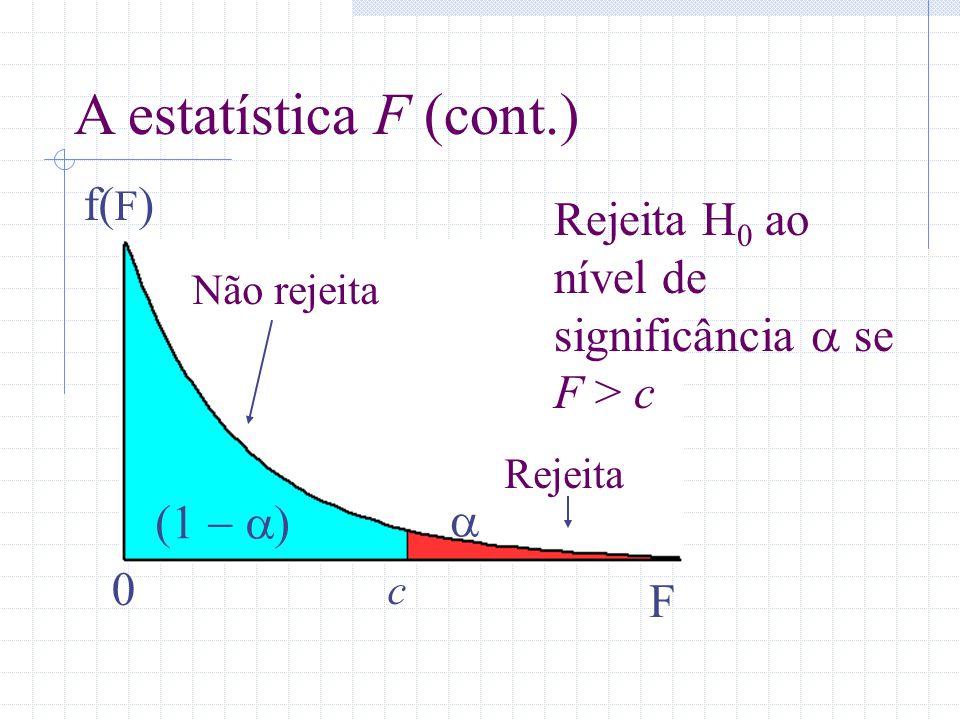 0 c f( F ) F A estatística F (cont.) Rejeita Não rejeita Rejeita H 0 ao nível de significância se F > c