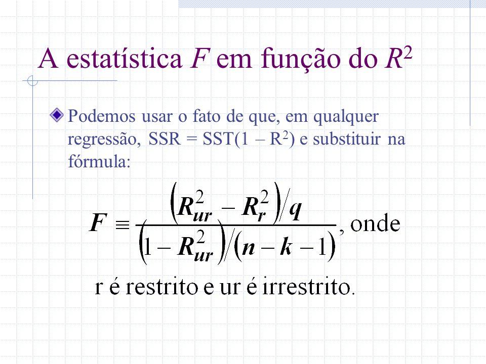 A estatística F em função do R 2 Podemos usar o fato de que, em qualquer regressão, SSR = SST(1 – R 2 ) e substituir na fórmula: