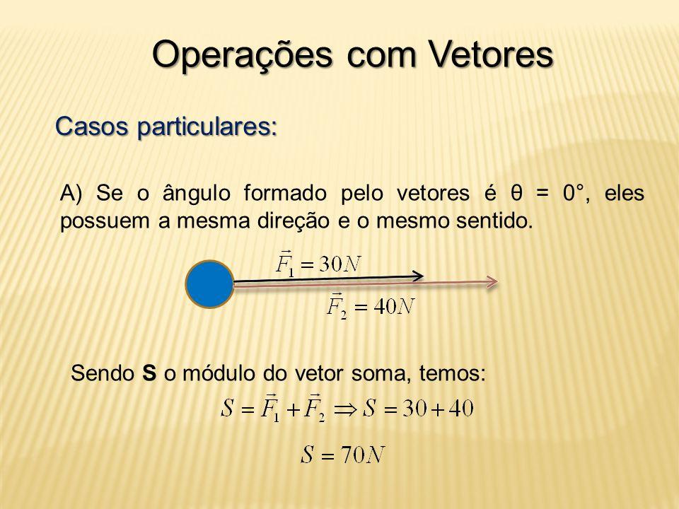 Operações com Vetores Casos particulares: A) Se o ângulo formado pelo vetores é θ = 0°, eles possuem a mesma direção e o mesmo sentido.