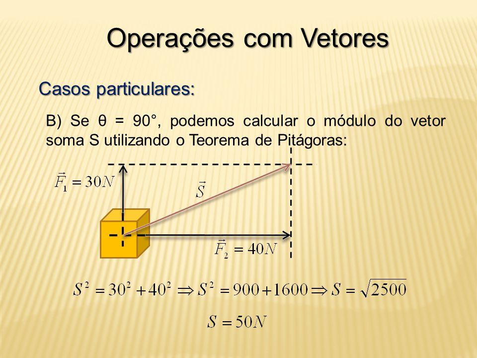 Operações com Vetores Casos particulares: B) Se θ = 90°, podemos calcular o módulo do vetor soma S utilizando o Teorema de Pitágoras: