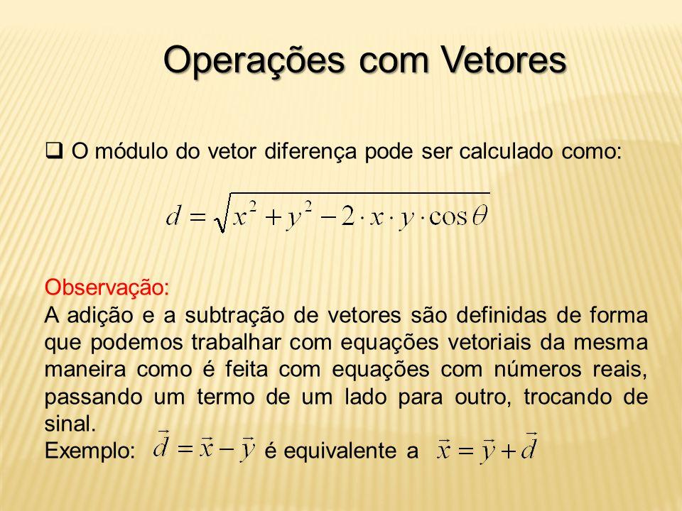 Operações com Vetores O módulo do vetor diferença pode ser calculado como: Observação: A adição e a subtração de vetores são definidas de forma que podemos trabalhar com equações vetoriais da mesma maneira como é feita com equações com números reais, passando um termo de um lado para outro, trocando de sinal.