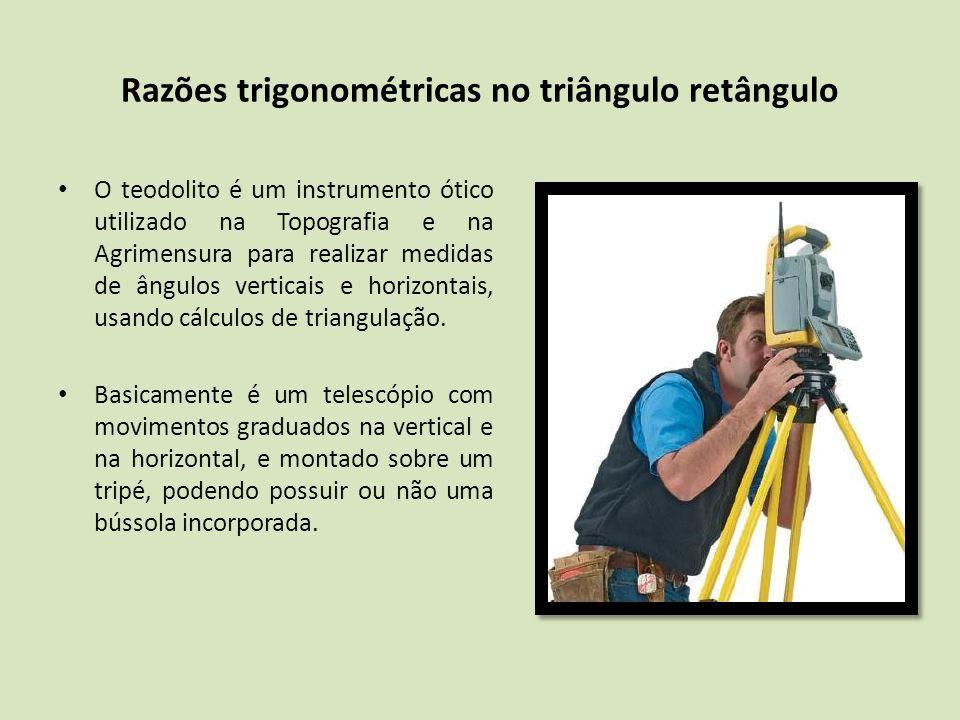 O teodolito é um instrumento ótico utilizado na Topografia e na Agrimensura para realizar medidas de ângulos verticais e horizontais, usando cálculos