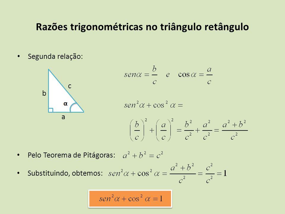 Segunda relação: Razões trigonométricas no triângulo retângulo a b c Pelo Teorema de Pitágoras: Substituindo, obtemos:
