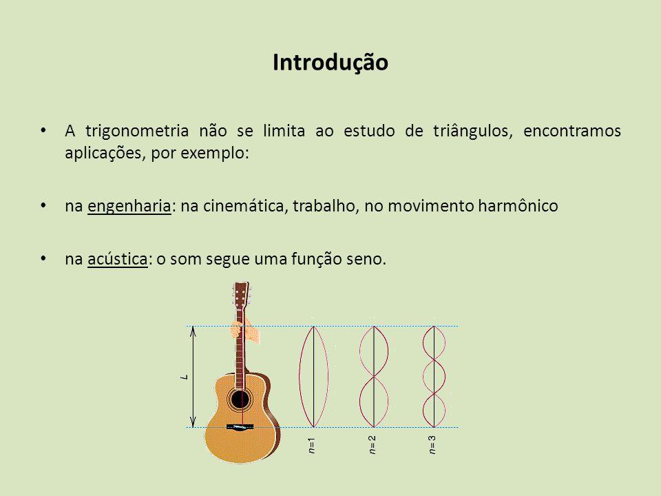 A trigonometria não se limita ao estudo de triângulos, encontramos aplicações, por exemplo: na engenharia: na cinemática, trabalho, no movimento harmô